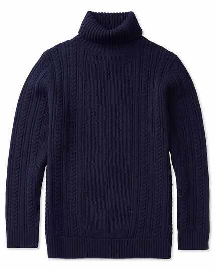 Navy chunky cable knit lambswool roll neck sweater