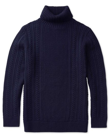 Navy chunky cable knit lambswool roll neck cardigan