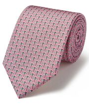 Light pink dragonfly print silk classic tie