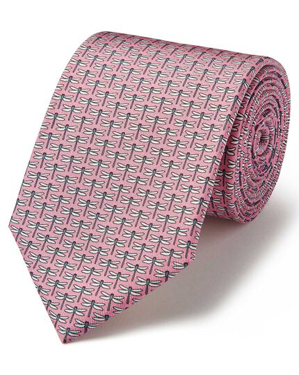 Light pink silk animal print classic tie