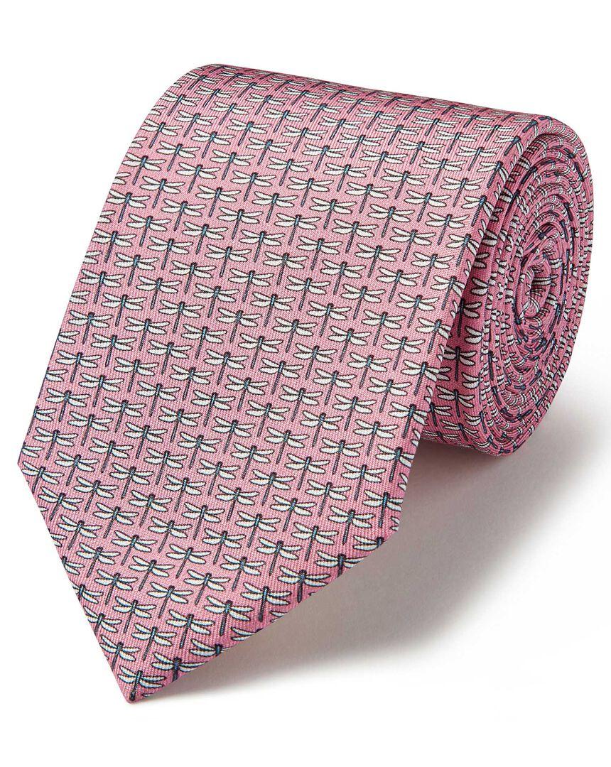 Light pink dragonfly print silk classic tie