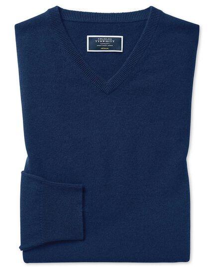 Blue cashmere v neck sweater
