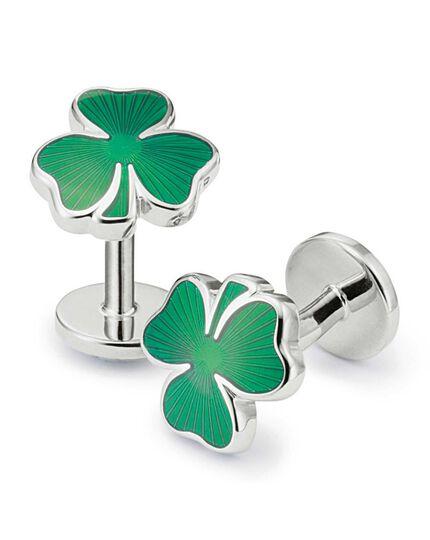 Irish shamrock enamel cufflinks