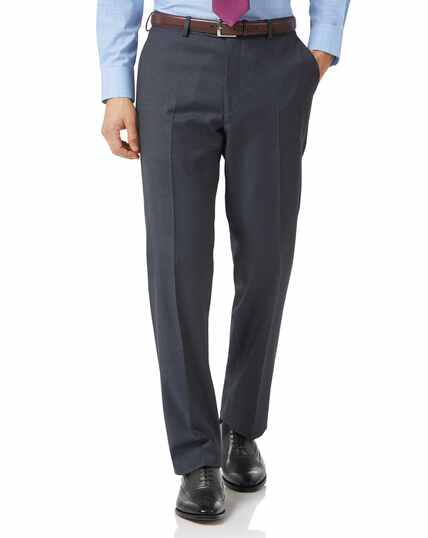 Steel blue classic fit twill business suit trousers