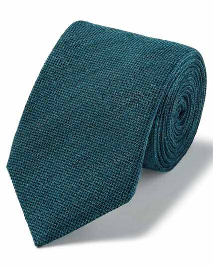 Aqua blue plain wool silk luxury Italian tie