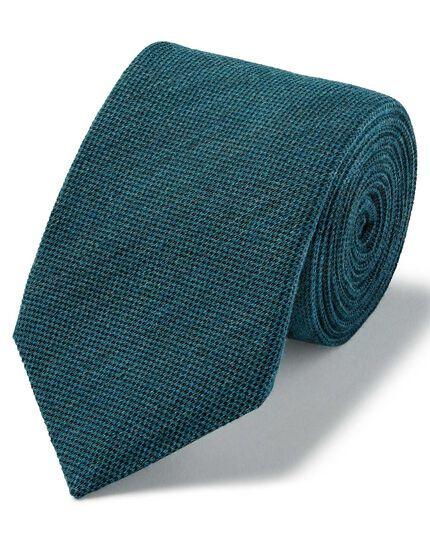 Aqua blue plain wool silk luxury Italian tie