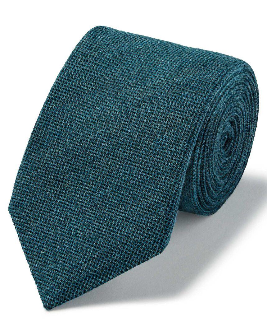 Aqua plain wool silk Italian luxury tie