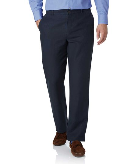 Navy classic fit easy care linen trousers