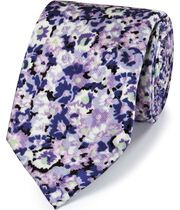 Purple floral cotton silk printed classic tie