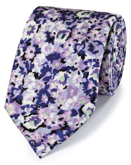 Klassische Krawatte Baumwolle/Seide mit Blumenmuster in Violett