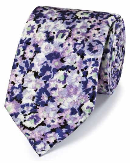Cravate classique violette en coton et soie avec imprimé floral