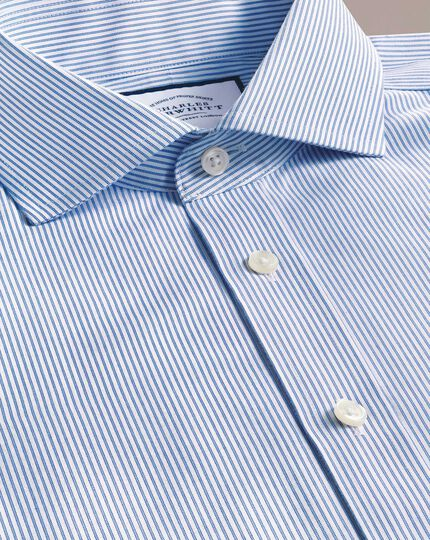 Slim fit spread collar non-iron blue stripe natural cool shirt