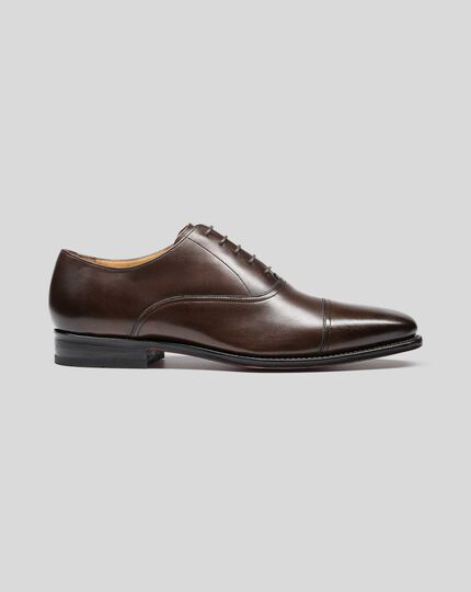 Goodyear Welted Oxford Toe Cap Shoe - Chocolate