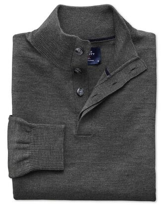 Charcoal merino wool button neck jumper