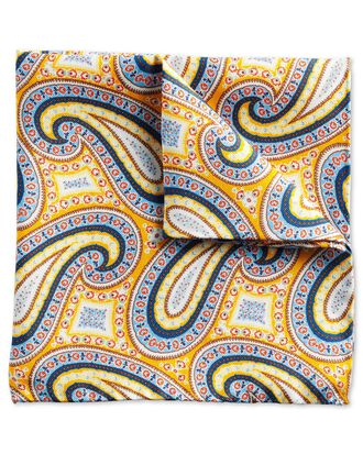 Gold multi luxury English paisley pocket square