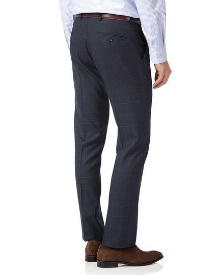 Blue slim fit jaspe check business suit trousers
