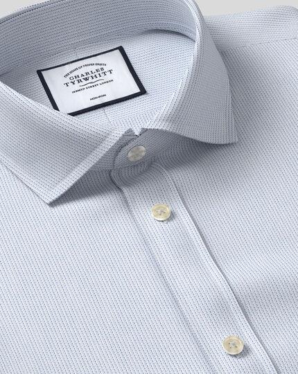 Bügelfreies Oxford Hemd aus Stretch-Baumwolle mit Haifischkragen und Streifen - Himmelblau