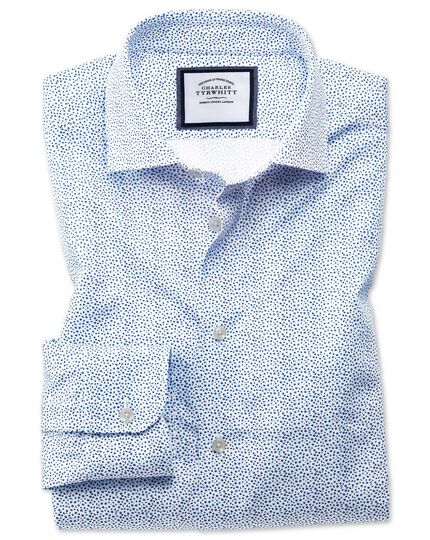Slim fit semi-cutaway business casual white and blue ditsy print shirt