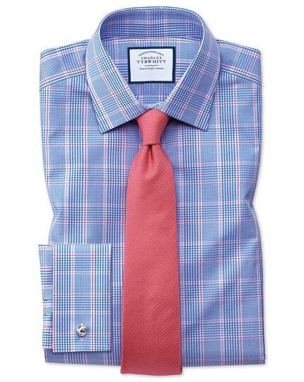 Slim Fit Hemd in Blau mit Prince-of-Wales-Karos
