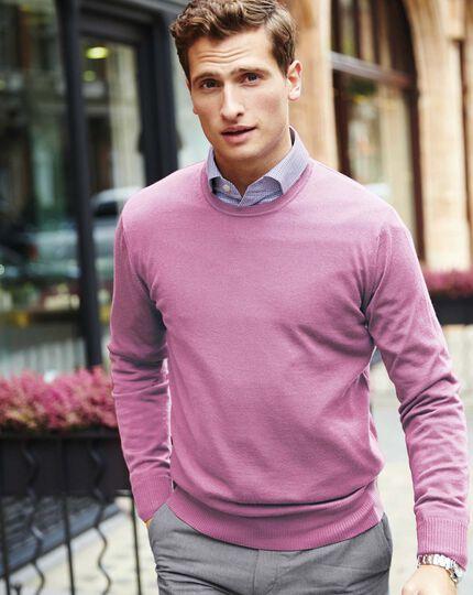 Light pink merino wool crew neck sweater