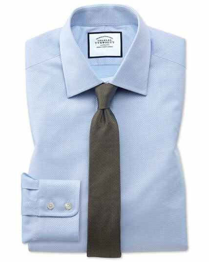Extra slim fit sky blue cube weave Egyptian cotton shirt