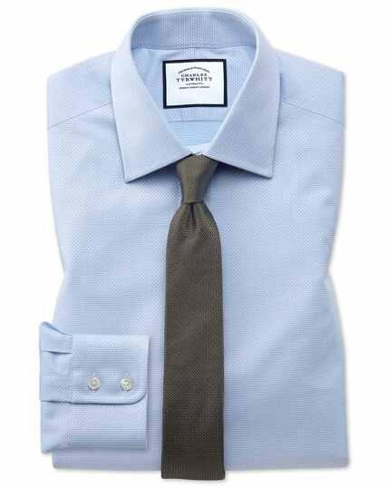 Chemise bleu ciel en coton égyptien avec armure à carrés extra slim fit