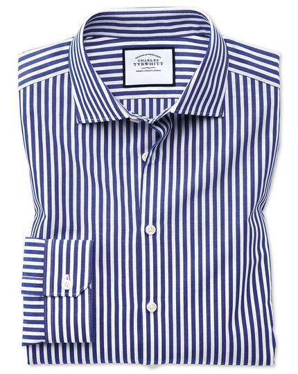 Super slim fit business casual leno texture blue and white stripe shirt