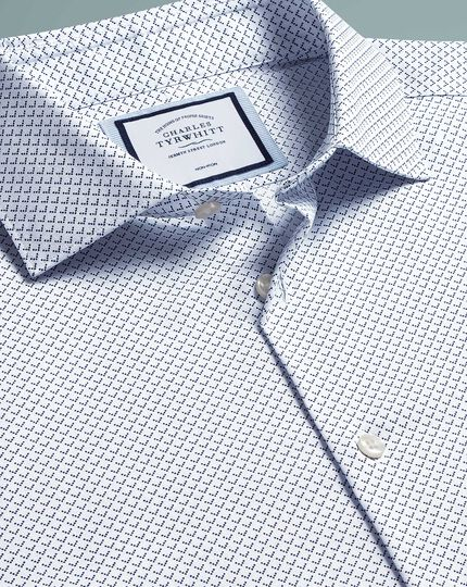 Extra slim fit non-iron geo print blue shirt