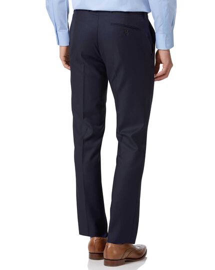 Pantalon de costume de luxe bleu marine en twill italien slim fit