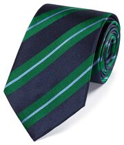 Navy and green silk textured reppe stripe classic tie