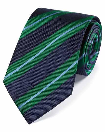 Klassische Krawatte aus Seide mit strukturierten Streifen in Marineblau und Grün