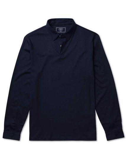 Plain navy long sleeve jersey polo