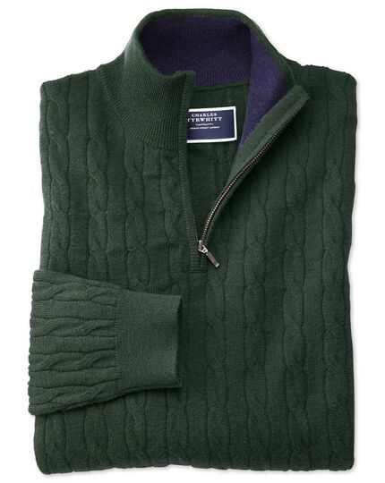Green zip neck lambswool cable knit sweater