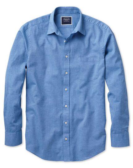 Chemise bleu vif unie en coton et lin slim fit