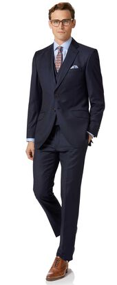 Navy blue slim fit twill Italian luxury suits