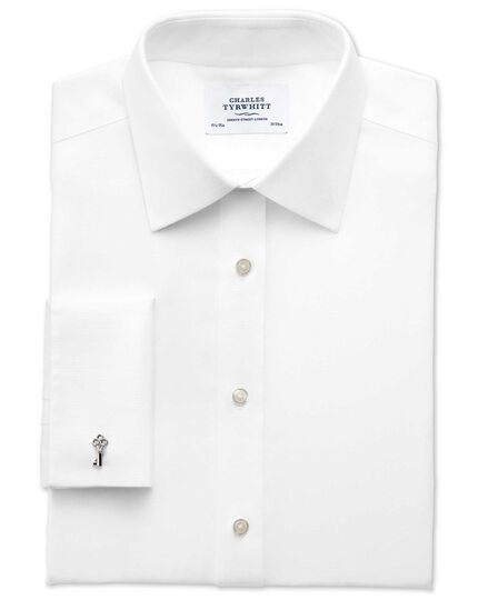 Slim fit non-iron imperial weave white shirt