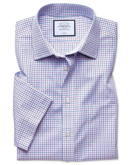 Kurzärmeliges Popelinehemd Slim Fit Bügelfrei Tyrwhitt Cool mit Karos in Lila & Himmelblau