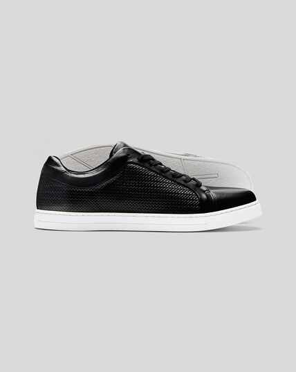 Woven Leather Trainer - Black