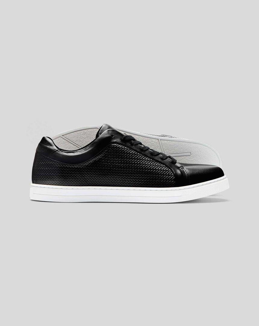 Woven Leather Sneaker - Black