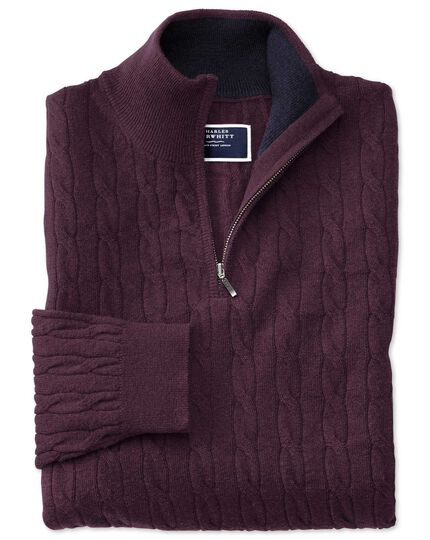 Wine zip neck lambswool cable knit sweater