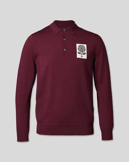 LIMITED EDITION England Rugby Merino Polo Sweater - Burgundy