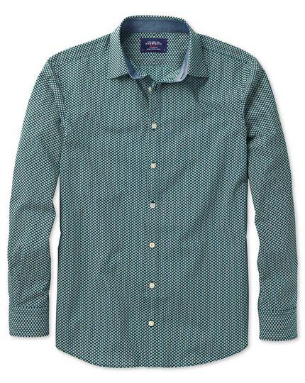 Extra slim fit dark green spot print shirt