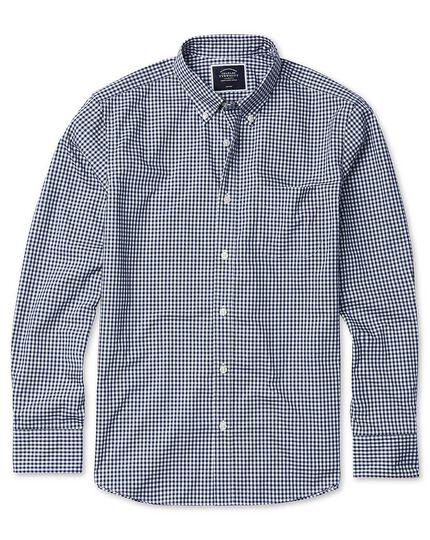 Chemise en popeline stretch soft washed bleu marine à carreaux vichy extra slim fit sans repassage