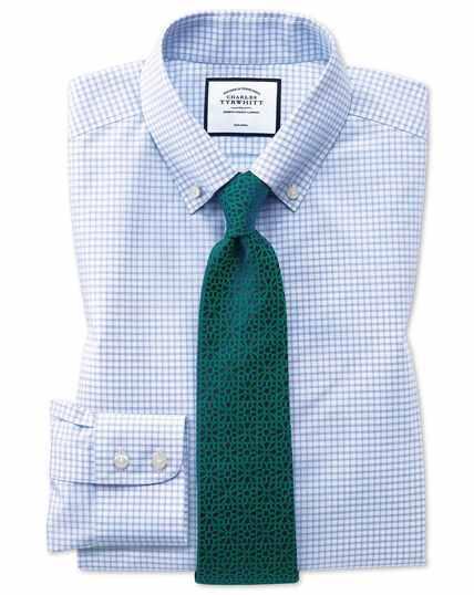 Slim fit non-iron sky blue windowpane check shirt