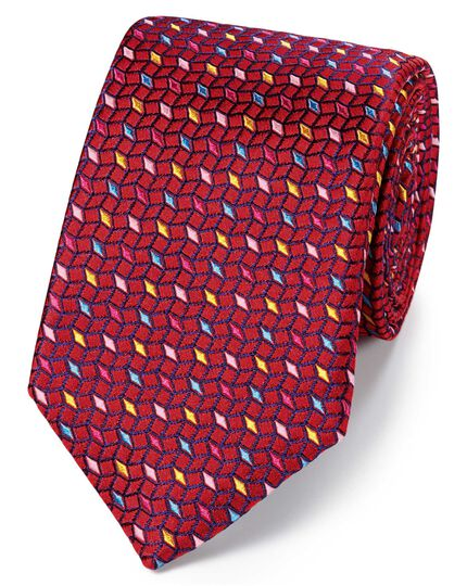 Red multi silk English luxury tie