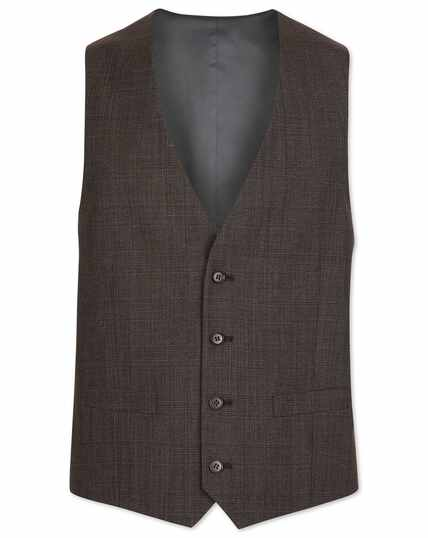 Brown Prince of Wales check adjustable fit suit waistcoat