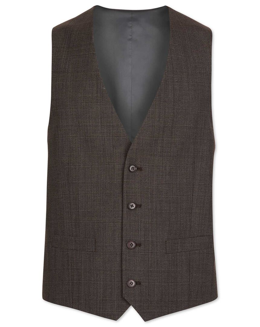 Brown Prince of Wales check adjustable fit suit vest