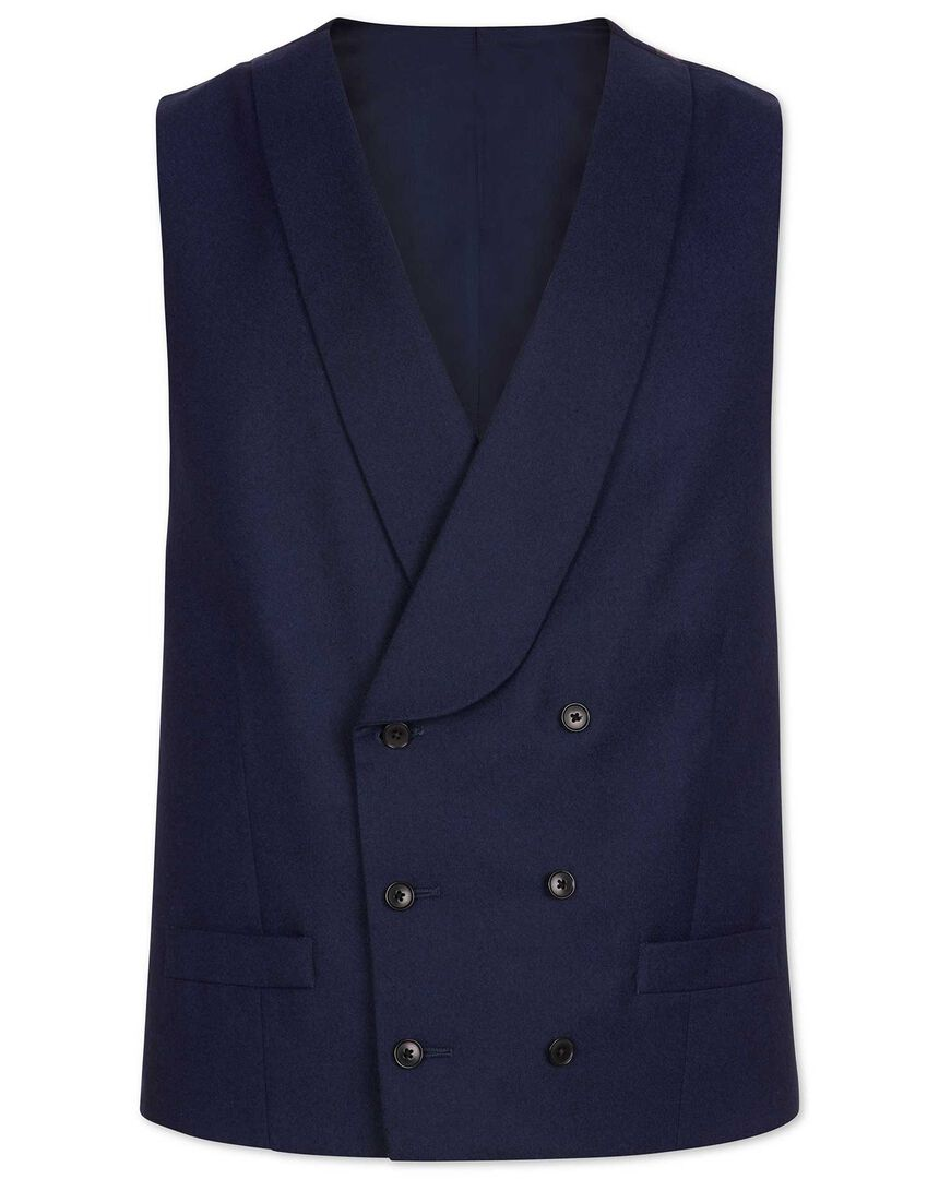 Blue adjustable fit British luxury suit waistcoat