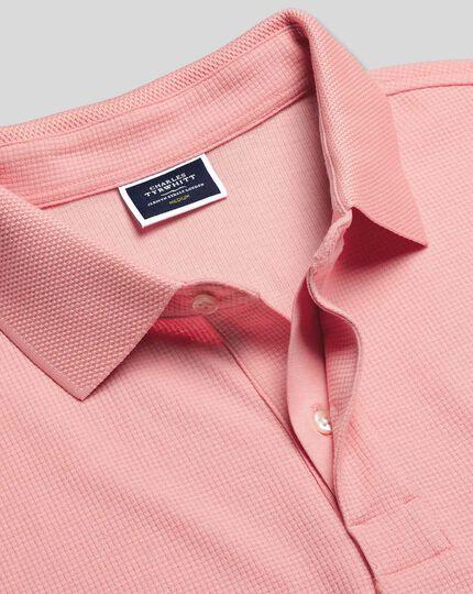 Tyrwhitt Cool Short Sleeve Waffle Polo - Pink