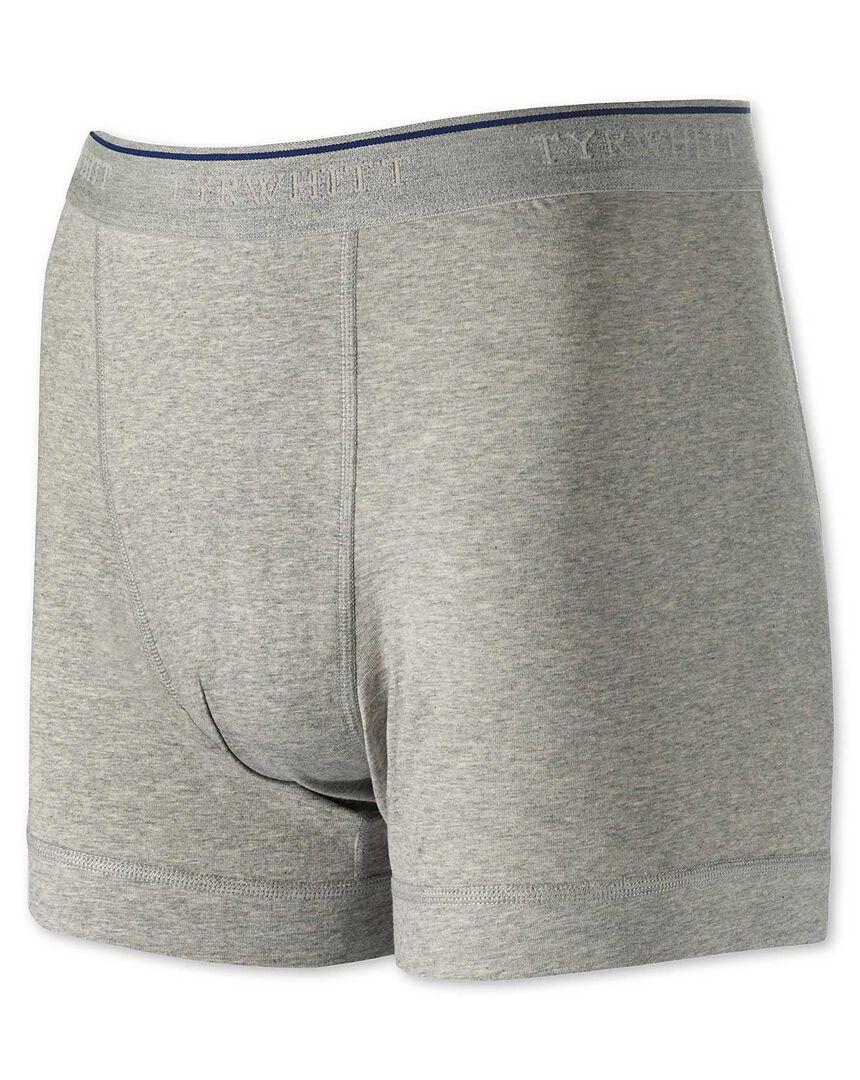 Grey cotton stretch jersey trunks